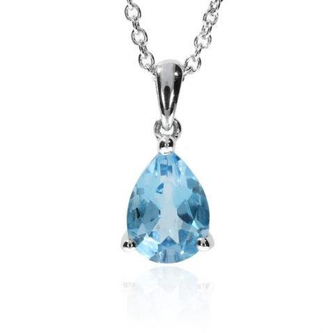 Blue Topaz Pear Shaped Pendant By Heidi Kjeldsen Jewellery P1014 Front