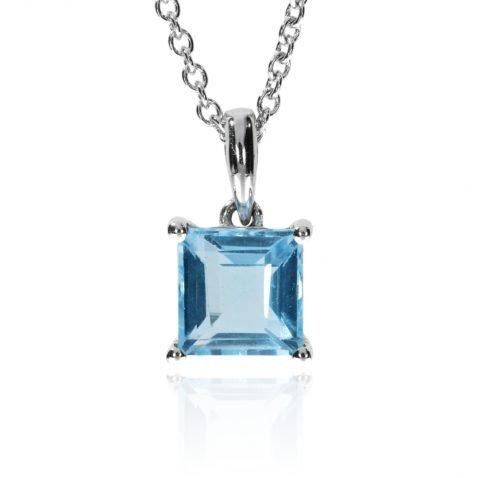Blue Topaz Square Cut Pendant By Heidi Kjeldsen Jewellers P1445 Front