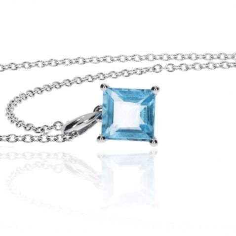 Blue Topaz Square Cut Pendant By Heidi Kjeldsen Jewellers P1445 Side