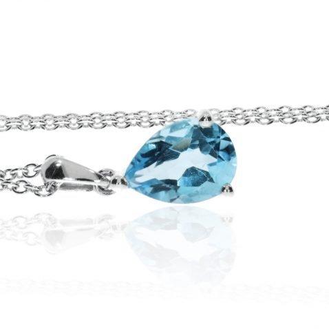 Blue Topaz Pear Shaped Pendant By Heidi Kjeldsen Jewellery P1014 Side