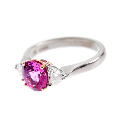 Heidi Kjeldsen Pink Sapphire & Heart Diamond Ring R752 side view