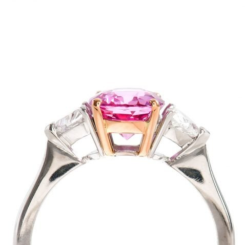 Heidi Kjeldsen Pink Sapphire & Heart Diamond Ring R752 vertical side view