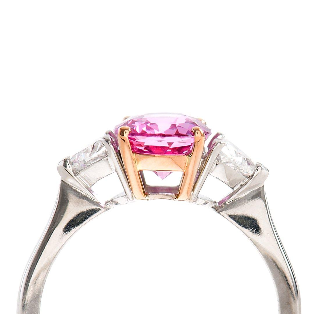 Heidi Kjeldsen Pink Sapphire & Heart Diamond Ring R752 vertical side view