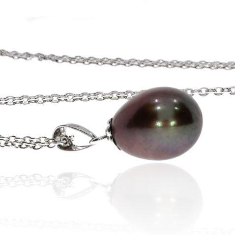 Black Pearl and White Gold Pendant by Heidi Kjeldsen jewellers P847 Side
