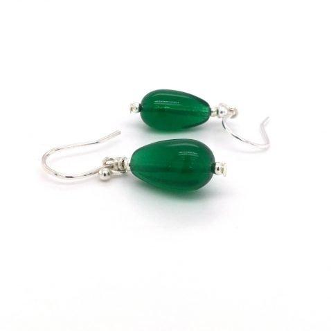 Pretty Green Glass Drop Earrings by Heidi Kjeldsen Jewellery ER4726 B