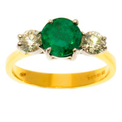 Heidi Kjeldsen Beautiful Emerald & Diamond Three Stone Ring R913