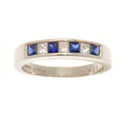 Heidi Kjeldsen Bespoke Sapphire & Diamond 18ct White Gold Eternity Ring R0212