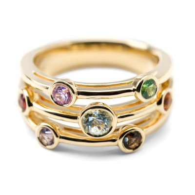 Heidi Kjeldsen Delightful Multi Gemstone Bubble Ring in 18ct Gold R1038