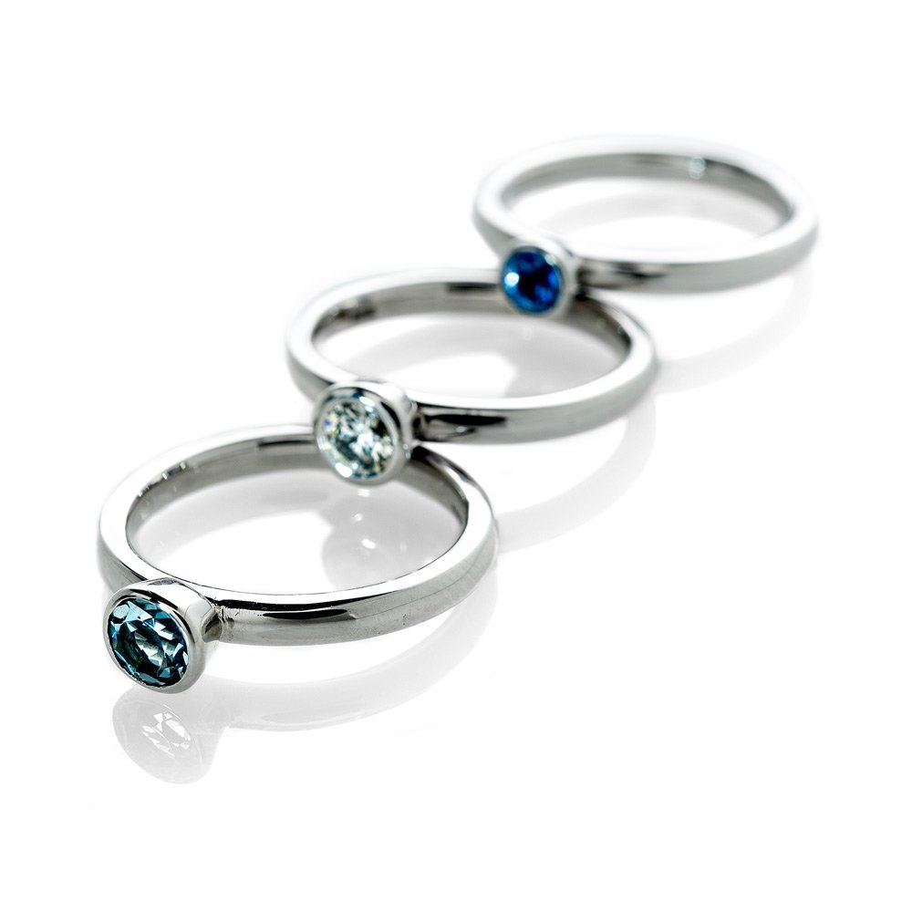 Elegant Aquamarine Stacking Ring In 9ct White Gold Heidi