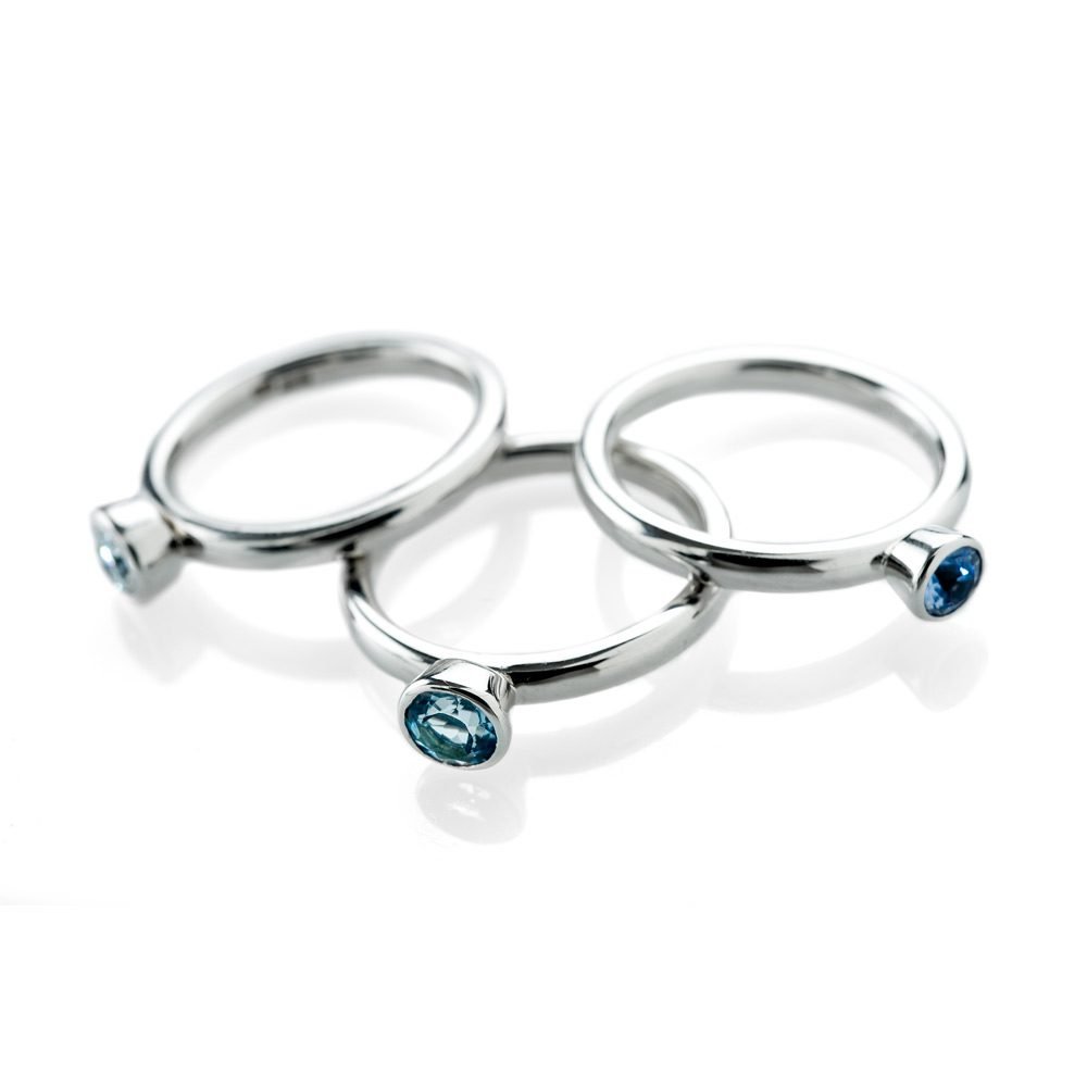 Heidi Kjeldsen Elegant Aquamarine Stacking Ring in 9ct White Gold R1051 R996 R1053 Alt 3