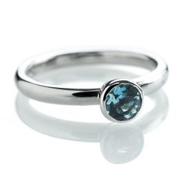 Heidi Kjeldsen Elegant Aquamarine Stacking Ring in 9ct White Gold R1053