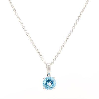 Heidi Kjeldsen Elegant Blue Topaz Pendant in 9ct White Gold P903