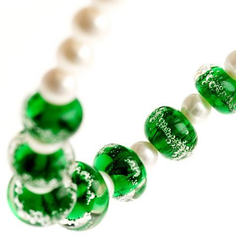 Heidi Kjeldsen Emerald Green Murano Glass & Cultured Pearl Necklace NL1042-2