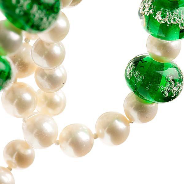Heidi Kjeldsen Emerald Green Murano Glass & Cultured Pearl Necklace NL1042-3