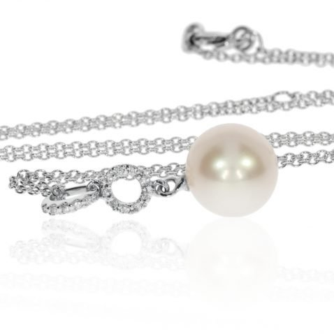 Cultured Pearl and Diamond Pendant By Heidi Kjeldsen Jewellery P861 Front