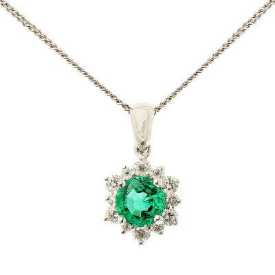Heidi Kjeldsen Fine Emerald Diamond 18ct Gold Cluster Pendant P843