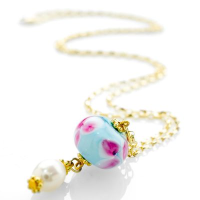 Heidi Kjeldsen Floral Murano Glass & Cultured Pearl Drop Pendant P977-2