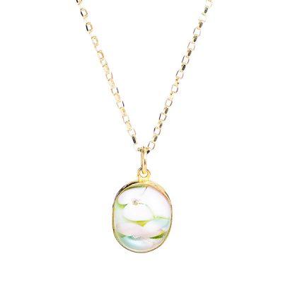 Heidi Kjeldsen Floral Murano Glass Pendant & 9ct Gold P957