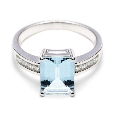 Heidi Kjeldsen Glorious Aquamarine & Diamond 18ct White Gold Ring R1036-1