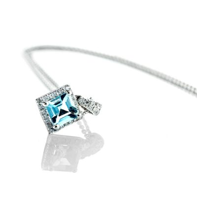 Heidi Kjeldsen Glorious Aquamarine & Diamond Square Pendant in 18ct White Gold P948-2