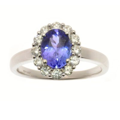Heidi Kjeldsen Gorgeous Tanzanite Oval & Diamond Cluster Ring R891