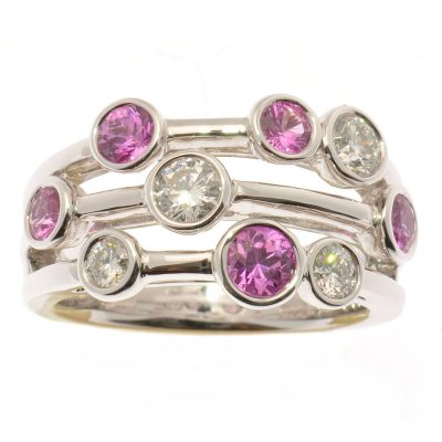 Heidi Kjeldsen Ladylike Pink Sapphire & Diamond Bubble Ring in 18ct White Gold R1056
