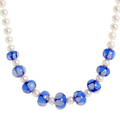 Heidi Kjeldsen Lavender Blue Murano Glass & Cultured Pearl Necklace NL1039