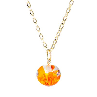 Heidi Kjeldsen Orange Murano Glass Implosion Pendant P974