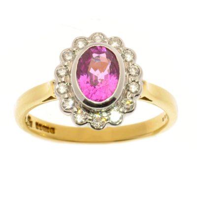Heidi Kjeldsen Pink Sapphire & Diamond Cluster Ring S338-0002