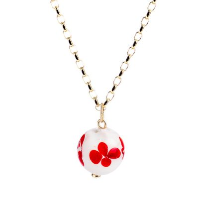 Heidi Kjeldsen Pretty Red & White Murano Glass Pendant P972