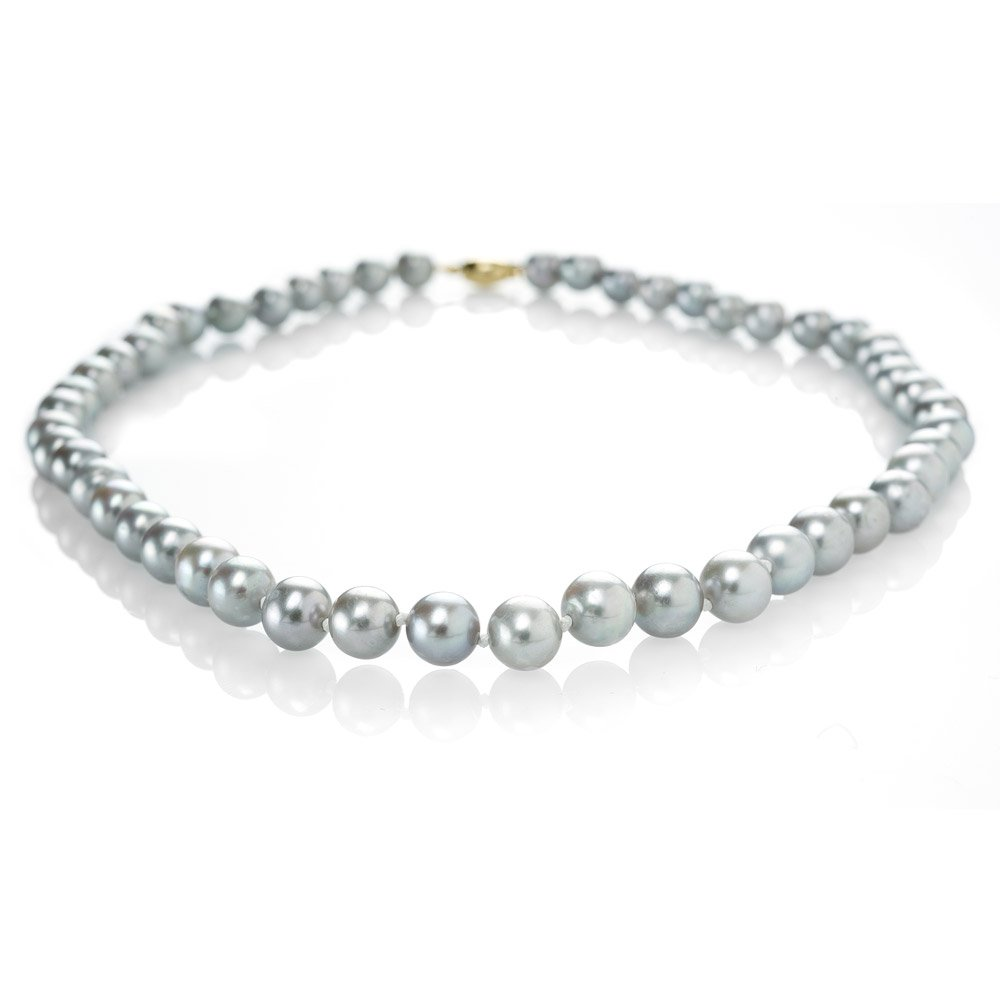 Shimmering Grey Cultured Pearls & 18ct Yellow Gold Necklace