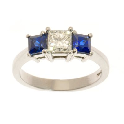 Heidi Kjeldsen Square Sapphire & Princess Cut Diamond Ring R842
