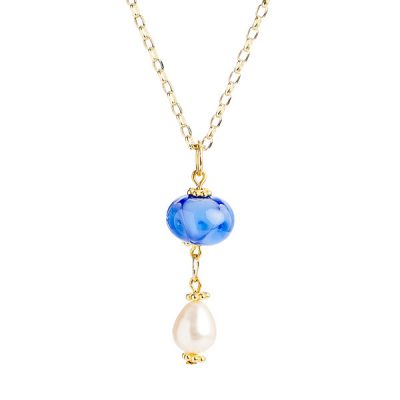 Heidi Kjeldsen Striking Blue Murano Glass & Pearl Drop Pendant P976