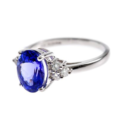Heidi Kjeldsen Stunning Tanzanite Oval & Diamond Trefoil Ring R900-3