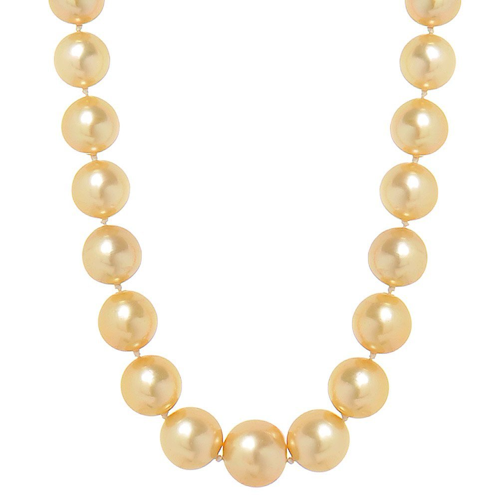 Heidi Kjeldsen Sumptuous Champagne South Sea Pearl Necklace with 18ct & Diamond Clasp. NL835