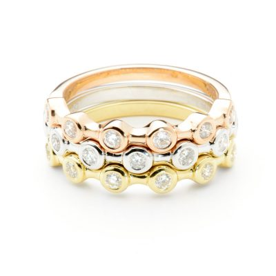 Heidi Kjeldsen Three Glorious Diamond Stacking Rings R1077 R1076 R1075 Stacked
