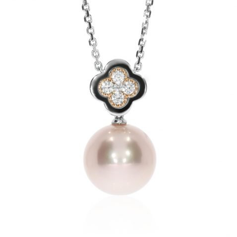 Lustrous Pink Pearl and Diamond Rose and White Gold Pendant Face
