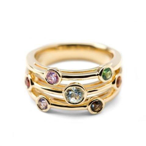 Heidi Kjeldsen Delightful Multi Gemstone Bubble Ring in 18ct Gold R1038 alt