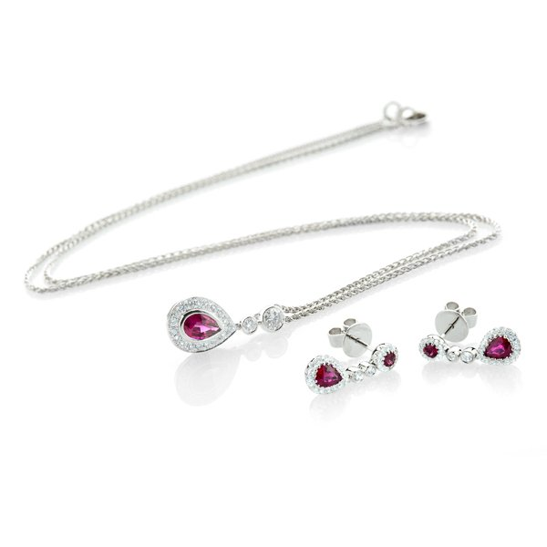 Ruby and Diamond earrings er1458 and pendant set by Heidi Kjeldsen Ltd B