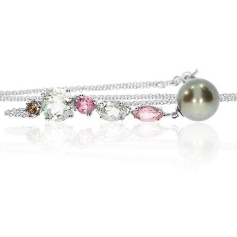 Heidi Kjeldsen Bespoke Multi-gemstone Cinnamon Diamond & Tahitian Pearl 18ct White Gold Pendant P433 side