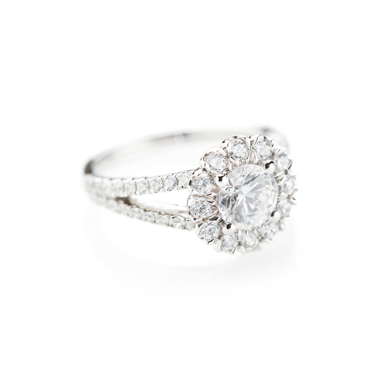 Luxurious Diamond Cluster Engagement Ring