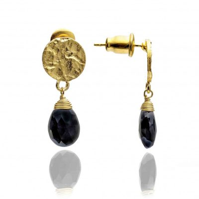 Azuni Black Onyx & Gold Plated Drop Earrings Heidi Kjeldsen ATHEST1BON