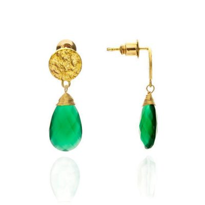 Azuni Vibrant Green Onyx Drop Earrings Heidi Kjeldsen ATHEST2GON