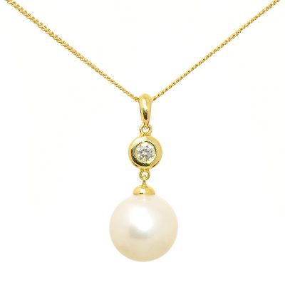 Heidi Kjeldsen Beautiful Diamond & South Sea Pearl Pendant In 18ct Yellow Gold P361