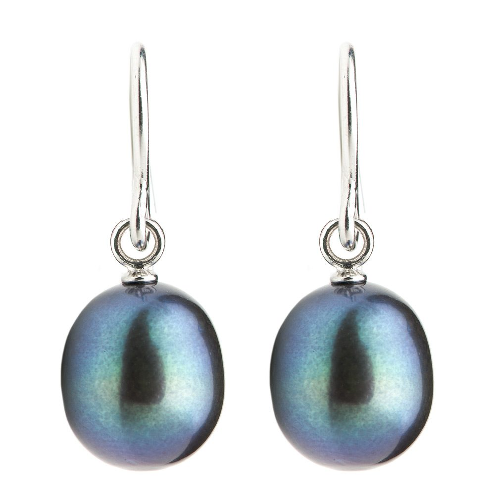 Heidi Kjeldsen Black Pearl Drop Earrings & Sterling Silver ER1616