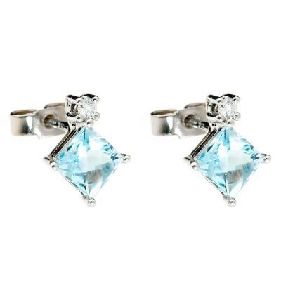 Heidi Kjeldsen Chic Aquamarine & Diamond Earrings in 18ct White Gold. ER1765