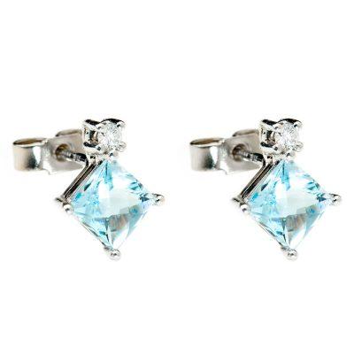 Heidi Kjeldsen Chic Aquamarine & Diamond Earrings in 18ct White Gold. ER1765