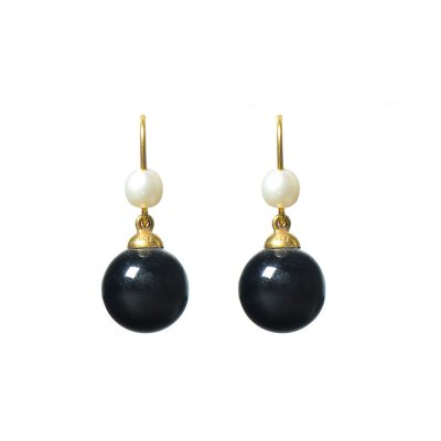 Heidi Kjeldsen Cultured Pearl, Black Onyx & Gold Earrings ER1352