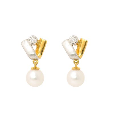 Heidi Kjeldsen Diamond Akoya Cultured Pearl & 18ct Yellow & White Gold Earrings A0111