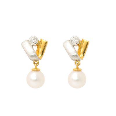 Heidi Kjeldsen Diamond Akoya Cultured Pearl & 18ct Yellow & White Gold Earrings A0111